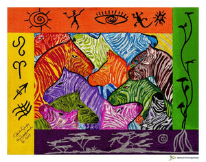 Zebras In Colors Giclée