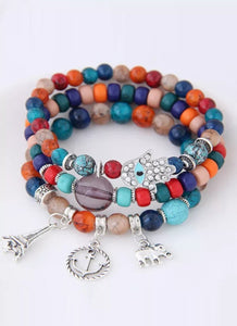 Multicolor Bohemian Ethnic Style Multi-layer Stretch Bead Bracelet