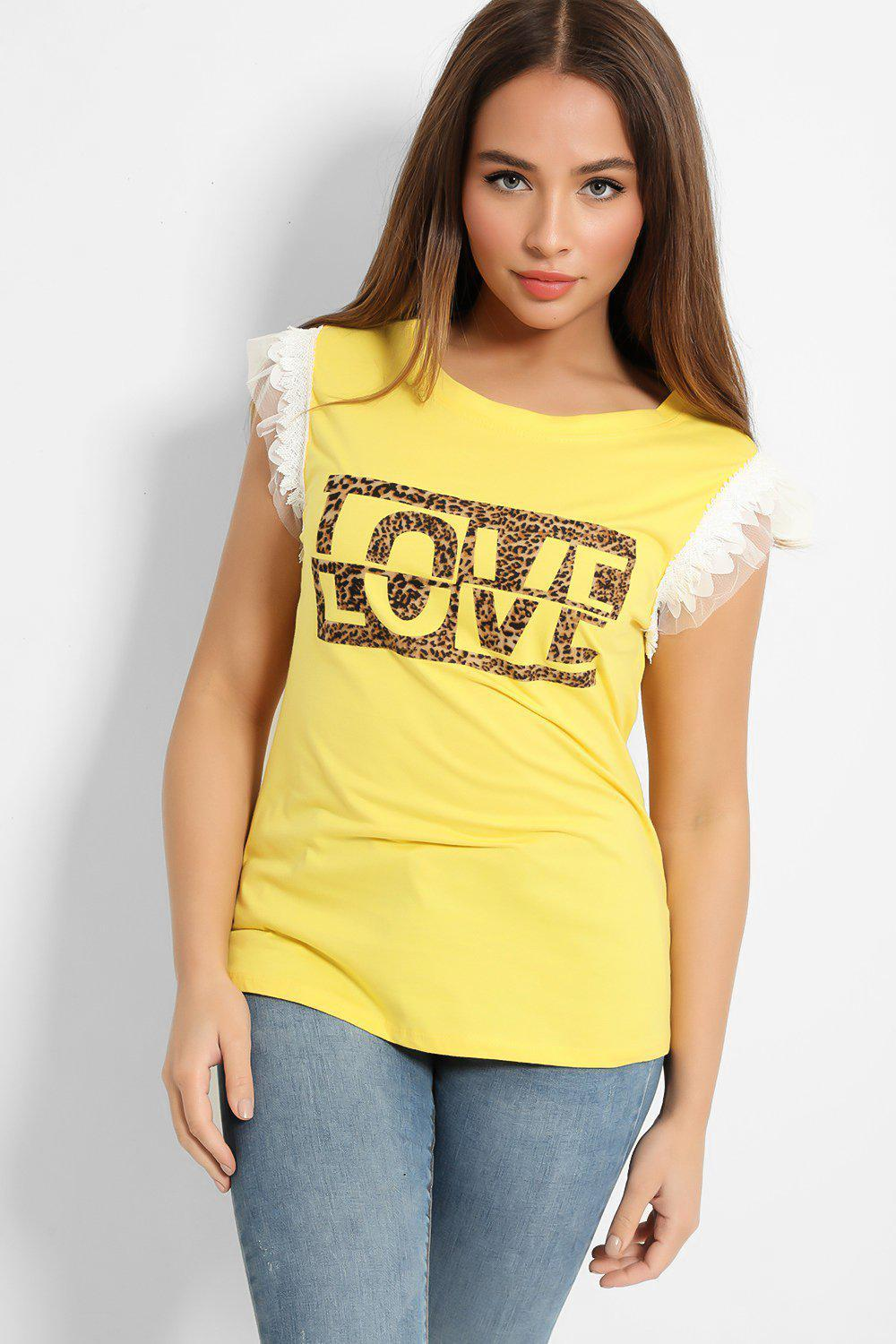 Yellow Love Print t-shirt