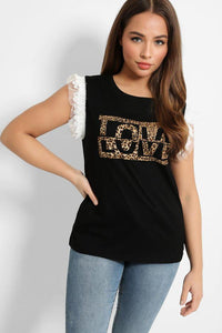 Black Love Print T-Shirt