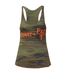 Women's über nerd tank Camo/Orange (Loose)