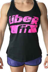Women's Logo Tank Gathered Back Black/Pink (Form)