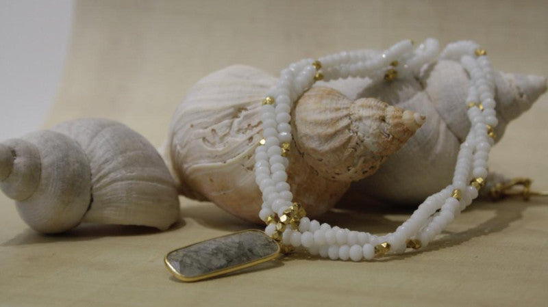 white jade beaded necklace with labradorite vivien walsh