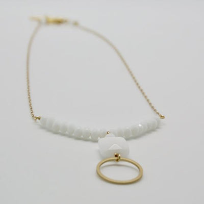 white jasper beaded necklace with matte gold open circle drop