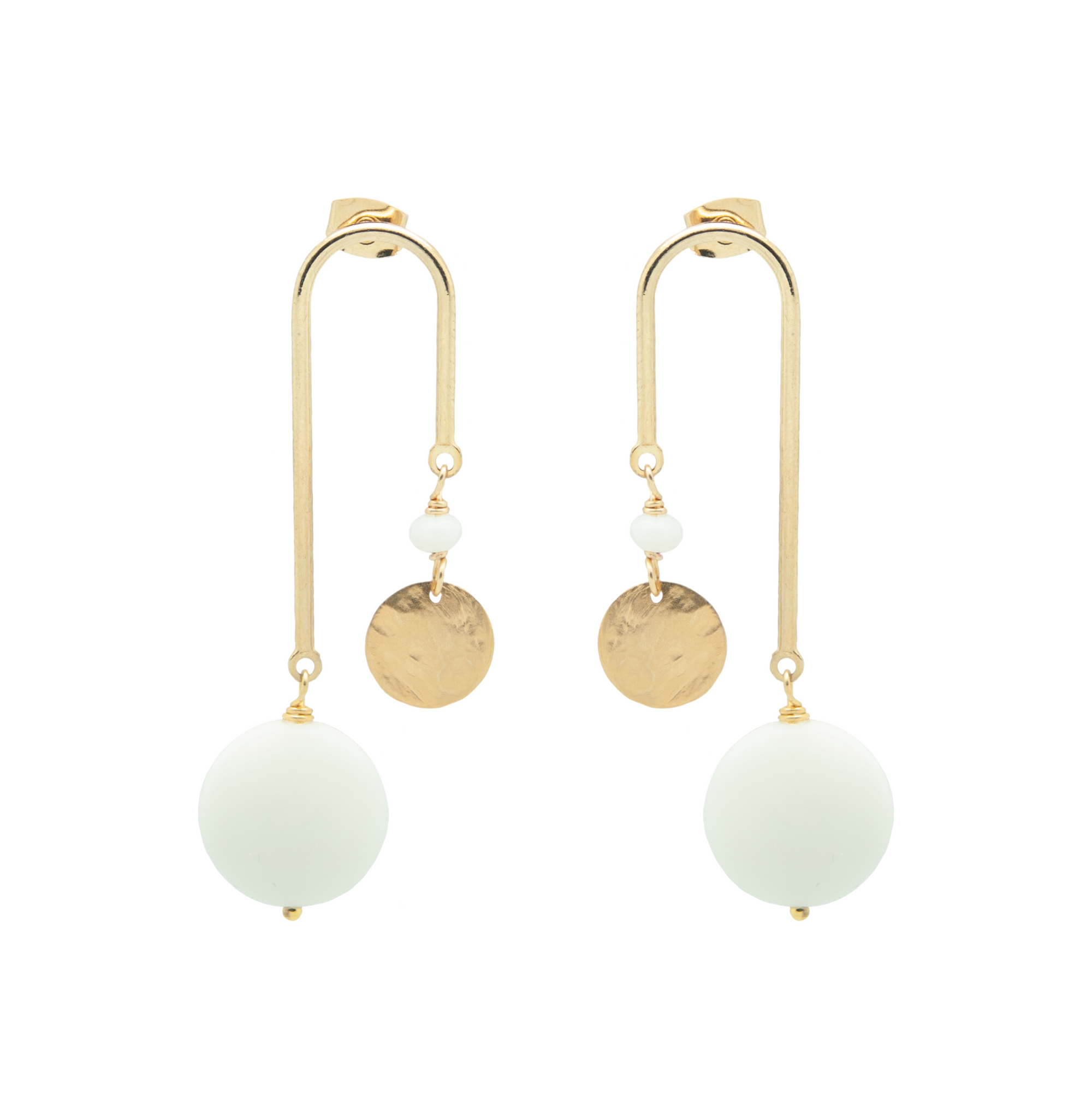curve earrings in glossy gold with white recycled glass drops on white background