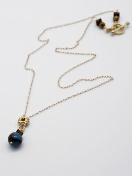 gold filled chain necklace with bead drop by vivien walsh