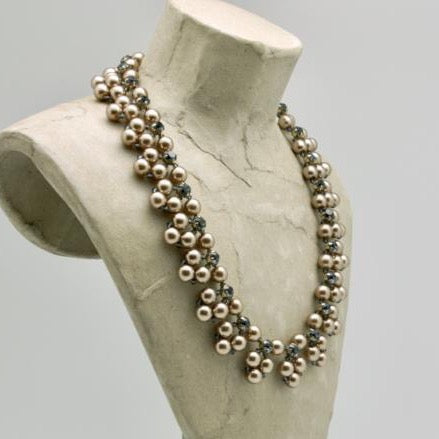 woven taupe pearl collar with montana rhinestones by vivien walsh