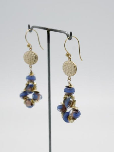 blue glass bead earrings with textured matte gold disc by vivien walsh