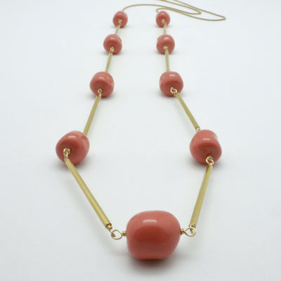 coral nugget necklace with matte gold tubes