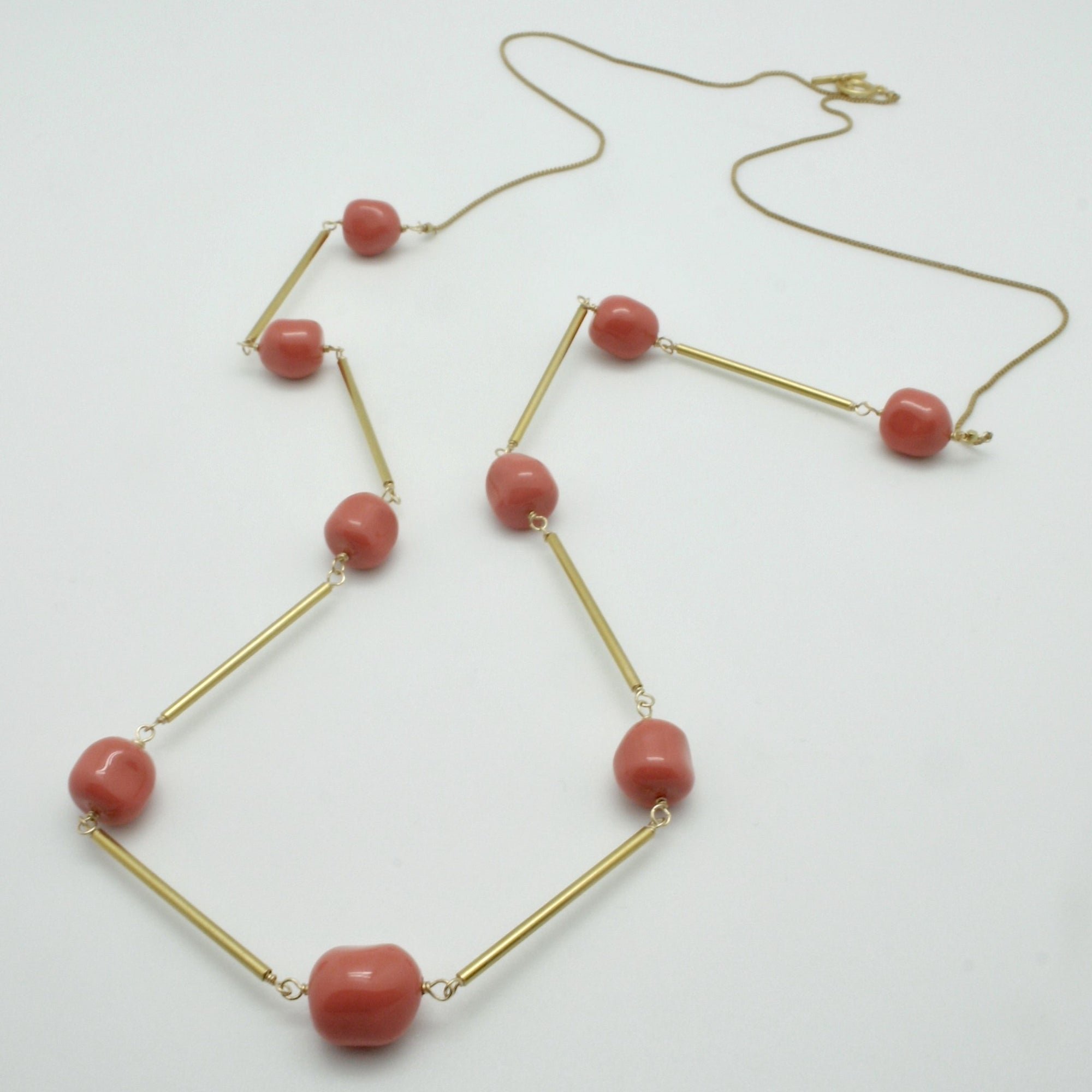 long coral nugget + matte gold tube necklace