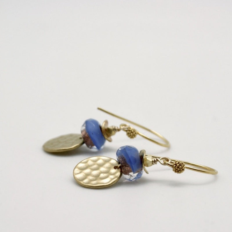 textured disc earrings matte gold with blue glass bead by vivien walsh