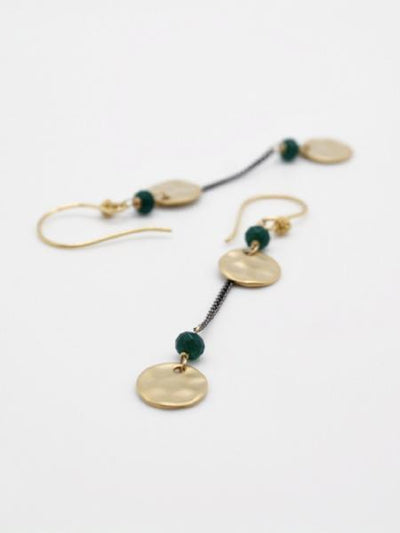 matte gold double disc earrings on fine chain by vivien walsh