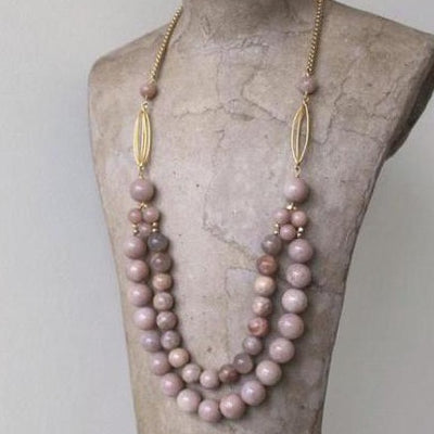 matte gold chain with pink moonstones vivien walsh dublin