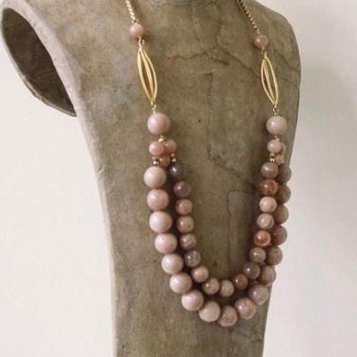 pink moonstone double row necklace vivien walsh irish designer jewellery