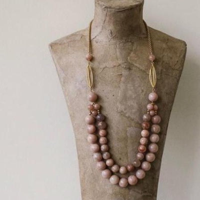 pink moonstone beaded necklace vivien walsh