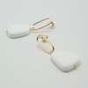 white slab earrings