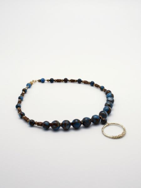 beaded stone necklace with matte gold circle drop by vivien walsh
