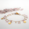 charm bracelet with rose quartz chips, freshwater pearls and mini gold coins