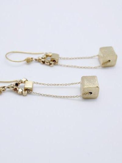 matte gold plated cube earrings on gold filled chain,vivien walsh