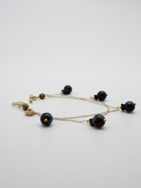 gold filled chain charm bracelet with semi precious stones by vivien walsh