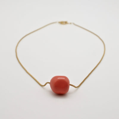 coral nugget necklace on gold chain by vivien walsh jewellery