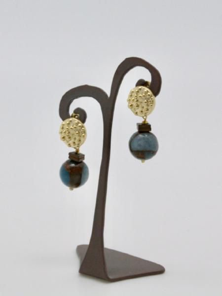 matte gold textured stud earrings with semi precious stones by vivien walsh
