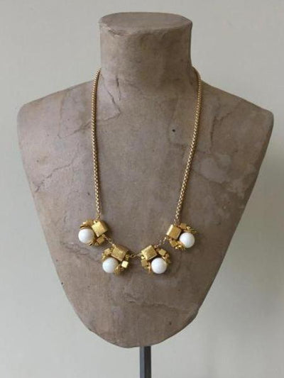 matte gold and white cubes necklace