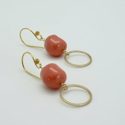 coral nugget + gold circle drop earrings