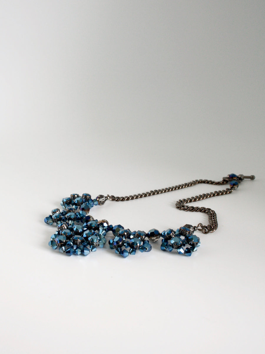metallic blue crystal collar by vivien walsh ireland