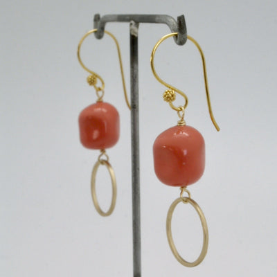 matte gold circle earrings with coral nugget