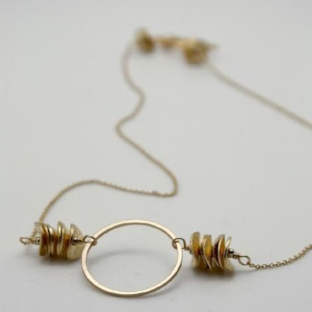 matte gold circle necklace vivien walsh