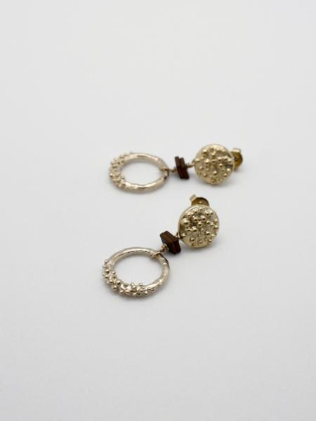 matte gold circle drop earrings on stud filling by vivien walsh