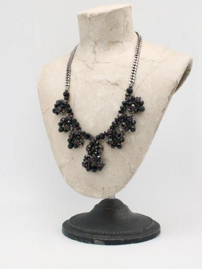 petal necklace black burgundy