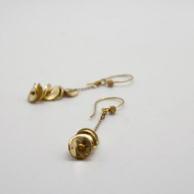 gold disc stacking earrings by vivien walsh