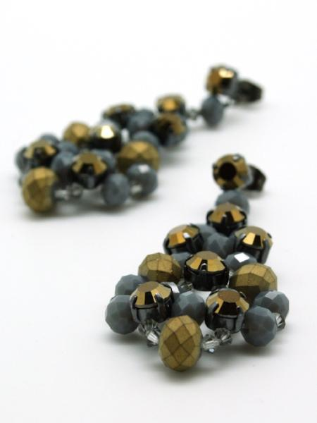 matte gold crystal beaded earrings by vivien walsh