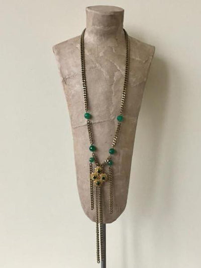 emerald green and bronze chain necklace vivien walsh