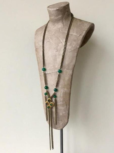 long bronze chain pendant with green stones