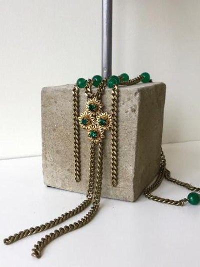 bronze chain pendant with emerald green agate vivien walsh irish designer
