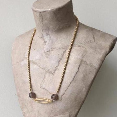 grey agate and matte gold cocoon necklace irish designer jewellery