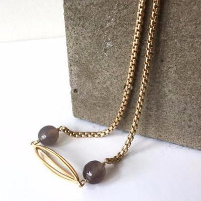 grey agate and mate gold necklace vivien walsh jewellery