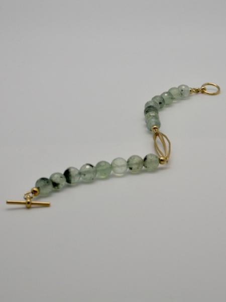 matte gold bracelet with prehnite vivien walsh