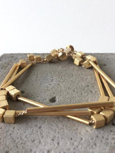 gold tubes bracelet on gold filled chain, vivien walsh