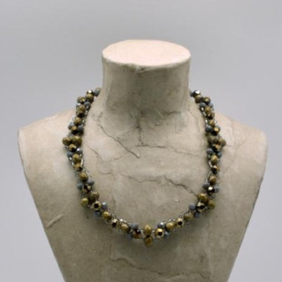matte gold woven beaded crystal collar by vivien walsh