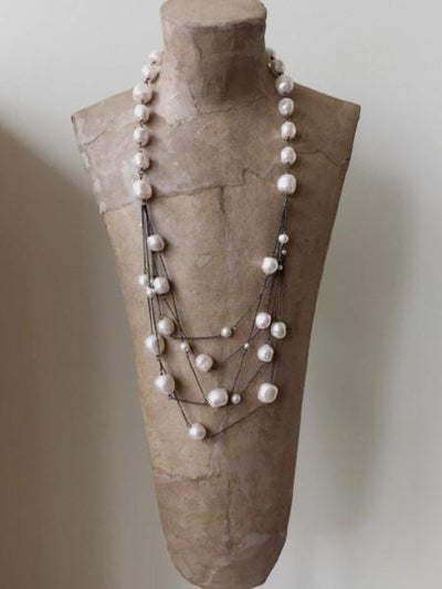 gunmetal chain necklace with white swarovski crystal pearls