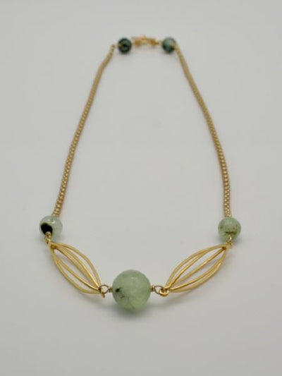 matte gold plated chain necklace with cocoons and prehnite semi precious stones