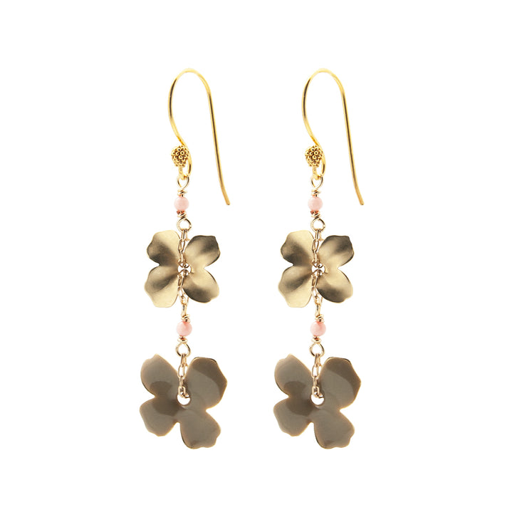 two flower earrings | grey