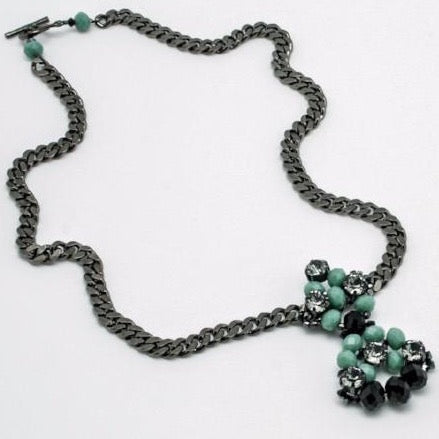 jet + green crystal beaded necklace on gunmetal chain by vivien walsh