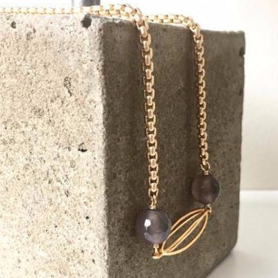 grey agate cocoon necklace on matte gold chain vivien walsh