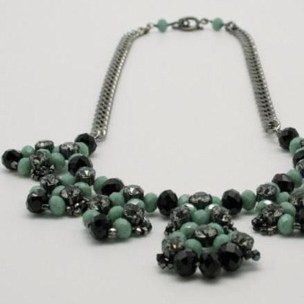 black +green crystal petal necklace by vivien walsh