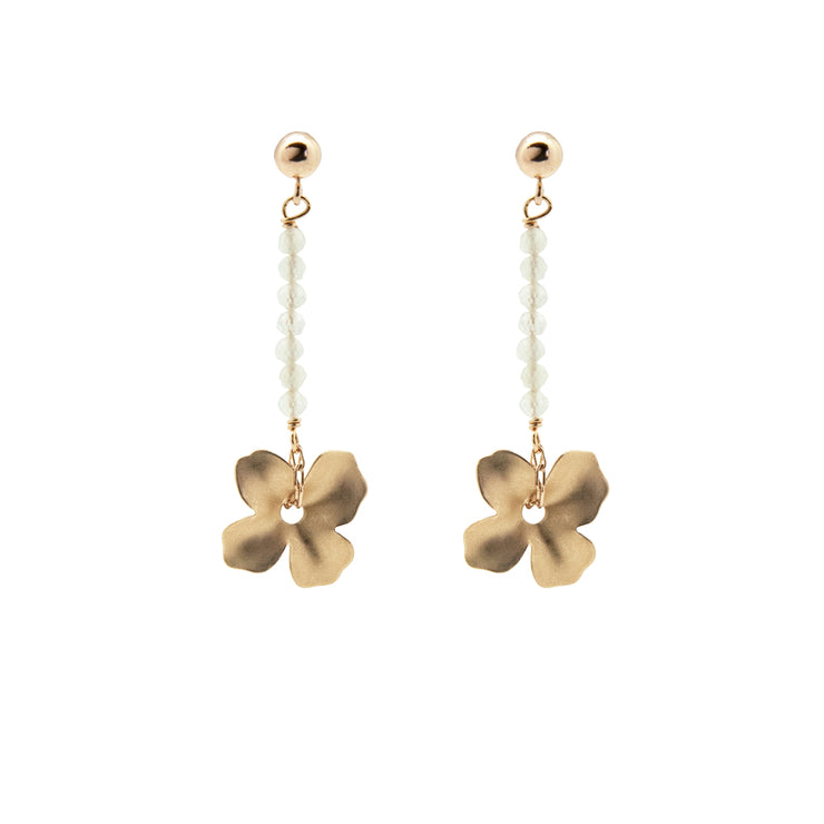 beaded line flower earrings | aquamarine